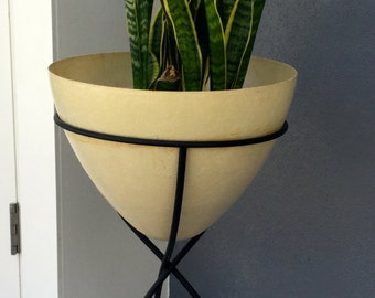 Large Mid Century Bullet Planter - White with Black Frame