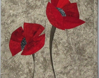 Art Quilt Poppies Two Red, Quilted Wall Hanging
