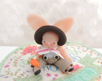 SALE EASTER BUNNY Boy with wee carrot Wee Miniature Figurine