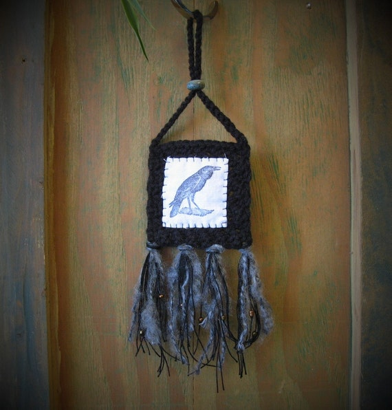 Black crow wall hanging morrigan wall hanging altar art for Altar wall decoration