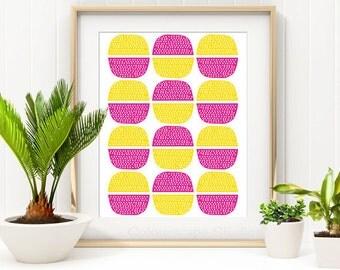 Pebbles Art Print, Circle Art, Geometric Art Print, Colourful Art, Childrens Art, Modern Home Decor, 8 x 10 Illustrated Print