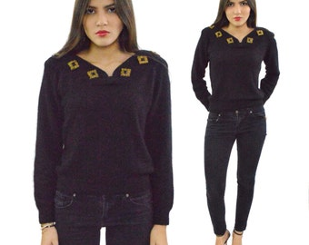 Vintage 90s Lord & Taylor Young Americans Beaded Embellished Silk Sweater Blouse Top Sz S