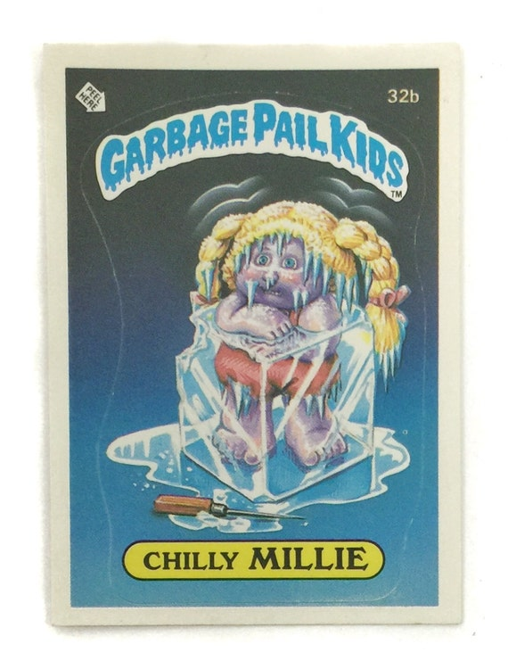 Vintage 80s Garbage Pail Kids Series 1 Chilly Millie 32b Glossy Sticker Trading Card