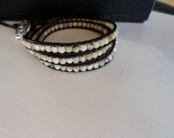 Black 1.5mm leather wrap bracelet