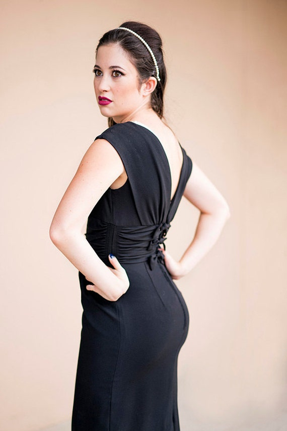 1950s Little Black Cocktail Dress With Low Cut Back And Bow