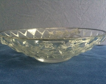 Lovely and Unique round Silver Floral Glass Candy Dish