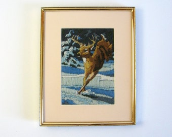 Jumping Deer - Vintage Needlepoint Embroidery - 8 x 10 Brass Frame - Framed Deer Art - Rustic Cabin Decor Winter Landscape - Blue Wall Decor