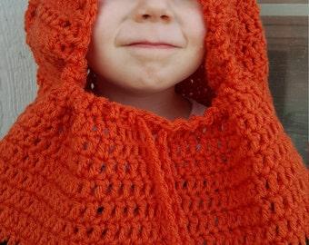 Fox hood, cowl, neck warmer, custom, gift, orange, animal ears, (All sizes available)