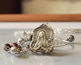 Religious Catholic Jewelry,  Virgin Mary Pendant Necklace, Our Lady of Lourdes, Virgin Mary Charm Necklace, Mary Necklace, Catholic gift