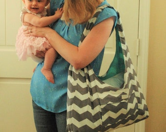 Grey Chevron with blue lining Diaper bag