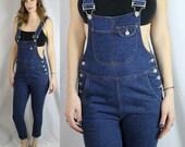 90's Dark Blue Denim Bib Overalls Skinny Leg Jeans Small Size 1 by TREX Denim
