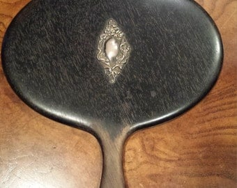 1800s Wood & Sterling Hand Held Mirror