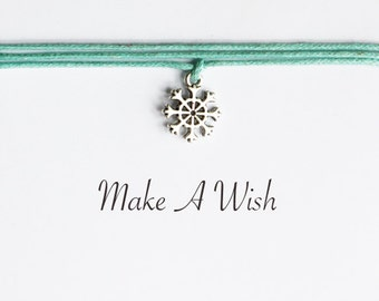 Make A Wish Snowflake Bracelet - Bohemian Jewellery, Friendship Bracelet, Ice Crystal, Christmas Gift, Stocking Stuffer, Wishing Charm