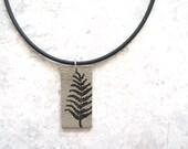 Leather Pendant Necklace, Handmade Botanical Necklace, Leather Leaf Jewellery, Rustic Fern Necklace