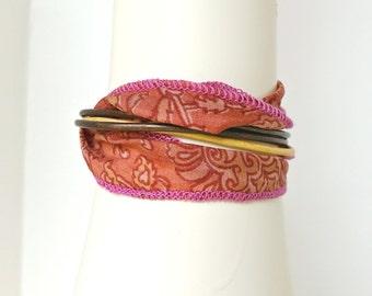 Pink Bracelet, Wrap Bracelet, Silk Bracelet, Boho Chic Bracelet, Sari Silk Ribbon, Magnetic Clasp, Leather Bracelet, Sari Silk Bracelet,