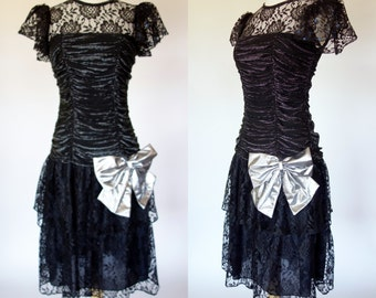 1980s black and silver prom dress, metallic lace, short sleeve, ruched and ruffled formal party dress, Small