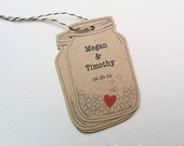 Mason Jar gift tags - Personalized wedding tags - Rustic Shower tags - Brown Kraft tags - Couple favor tags with Hearts (tw-19k)