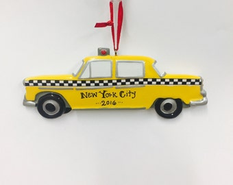FREE SHIPPING Taxi Cab Personalized Christmas Ornament - Cab Ornament - New York Ornament - New York Taxi Ornament