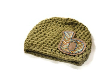 Boys Hat, Childrens Accessory, Hat for Kids, Olive Drab Boys Initial and Monogrammed Hat, Natural Color Chevron Pattern Letter Applique