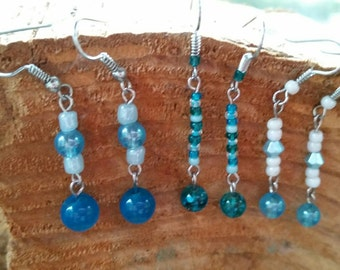 A beautiful in blue Earring set. A 3 piece earring set. All matching color theme.