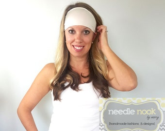 The Ivory Yoga Headband - Spandex Headband - Boho Wide Headband