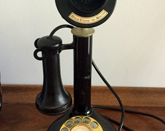 Vintage Candlestick Telephone - Repro from 1975, Made in Japan by Fold-a-Fone Inc, Brass and Black Bakelite w/ Rotary Dial