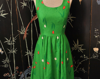 1970s Tulip Floral Print Dress - Small