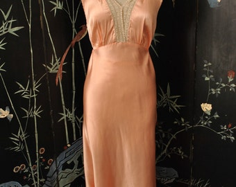 1930s Pink Satin Nightgown - Medium