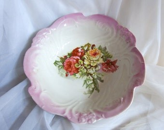 Vintage Porcelain Cabinet Bowl with a Pink, Red, and White Rose Bouquet