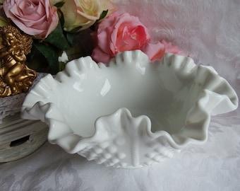 Vintage 1950s Hobnail-Milk Glass by Fenton