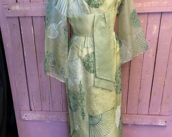"Alfred Shaheen Vintage 60's Novelty print Pake Muu Evening Gown Sz 38"" B"