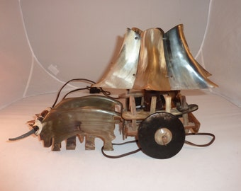Unique lamp made from horn. Vintage and collectible.