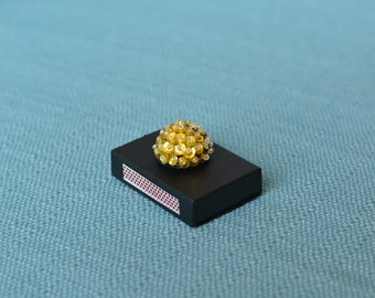 hand painted matchbox with gold sequins