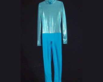 Child Metallic Turquoise and Shiny Stretch Spandex Unitard Catsuit Bodysuit Jumpsuit Child Size 8 Aqua Blue Costume Dance
