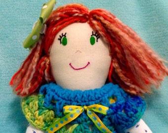 Fiona (a plush handmade rag doll with a crocheted dress)