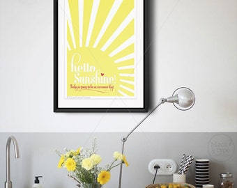 Hello Sunshine || hello sunshine print, typography print, morning print, sunny yellow, awesome day, sunshine print, yellow nursery art
