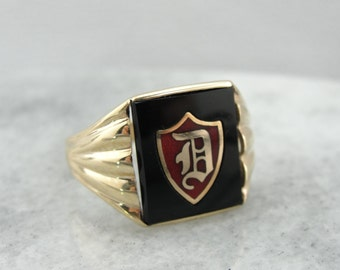 Men's Vintage D Monogram Black Onyx Signet Ring  3FZE7M-N