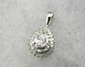 Teardrop Diamond Pendant with Diamond Halo ME908M-P