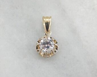 Sparkling White Sapphire Pendant in  Golden Buttercup LUPPK1-N