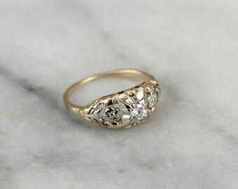 Mix Metals, Vintage Diamond Floral Engagement Ring TZ27UQ-N