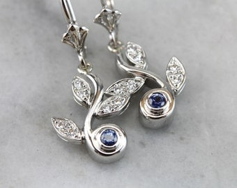 Platinum, Sapphire and Diamond Floral Drop Earrings  XV2AJX-D