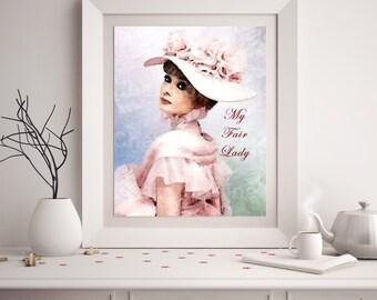 Audrey Hepburn My Fair Lady Art Print, Eliza Doolittle Art Print, Classic Hollywood Home Decor, Bedroom Living Room Audrey Hepburn Wall Art