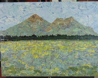 """Aviation Sectional Collage """"Mt. Humphries """" Flagstaff, AZ. Aviation Chart collage created from recycled sectional  charts."""