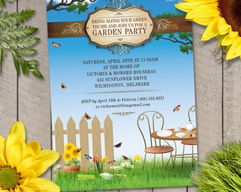 Flowering Garden Tea Party Invitation, Printable, Evite or Printed (US Only) Invitation
