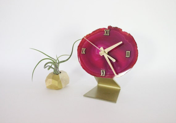 Ready Made Pink SoLo Agate Clock/Painted Gold Base | Modern Clock | Unique Clock | Gift For Her | Gift Idea | Housewarming Gift | Wedding