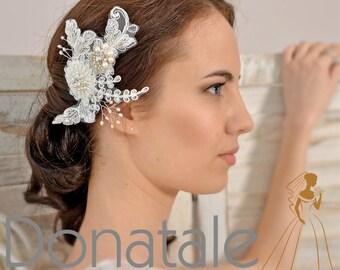 Wedding Hair piece Bridal Headpiece Wedding Headpiece  Flower  Fascinator Lace Headpiece Hair Clip  Headpiece Ivory Hair Flowers -  EMILIA