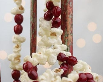Items similar to real cranberry garland 5 39 old fashion for Artificial cranberries for decoration