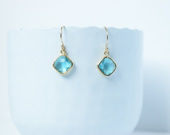 Earrings Square Blue Zircon Polished Gold Plated,blue glass earrings ears,Earrings Blue Zircon,Drop Earrings,Blue Square,Zircon blue