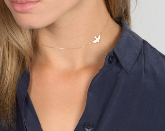 Soar Choker Necklace, Dainty Choker Necklace, Delicate Bird Necklace, 14k Gold Fill, Sterling Silver or Rose Gold / Layered + Long LN_115_aj