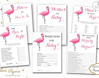 instant download printable baby shower games flamingo flamingo baby shower games luau tropical baby shower games game pack